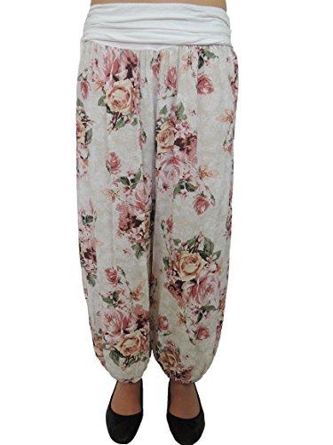 11 Farben Damen Pumphosen mit Rosendruck Gr 42 44 46 48 50 52 54 Weiß