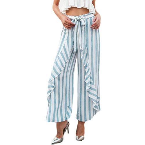 Anxinke Women Casual Beach Trousers, Lace-up Vertical Stripe High Waist Wide Leg Ruffled Casual Pants (XL, Sky Blue) by Anxinke