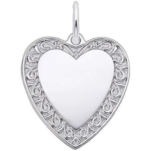 (Rembrandt Charms, Bordered Heart.925 Sterling Silver, Engravable)
