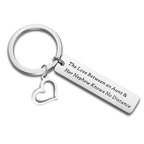 QIIER Aunt Gifts from Nephew Aunt Keychain The Love Between a Aunt and Nephew Knows No Distance Keychain Gift for Aunties (Silver)