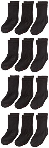 Hanes Big Boys' Classics Crew Socks, Black, Shoe size  9 -2.5 Medium (Pack of 12)