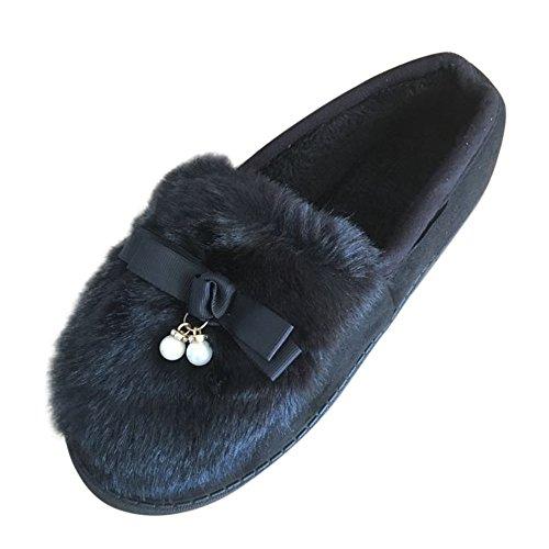 Neue Produkt Winter Damen Flats Schuhe,FORH Niedlich Bowknot Schuhe Faux Pelz Segelschuhe Mode Warm Schnee Schuhe Schwarz