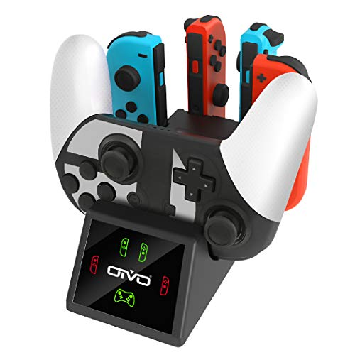 OIVO Controller Charging Dock Compatible with Nintendo Switch, 5in1 Controller Charger with LED Indicators, Pro Controller Charger, Joy-con Charging Docking Station with Type C Cable- 2.8FT