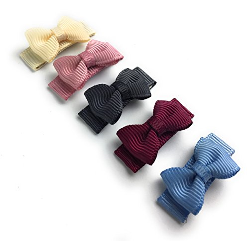 Baby Wisp 5 Tiny Tuxedo Bow Grosgrain Hair Clips Baby Girls Toddlers - Victorian Tea Gift Set