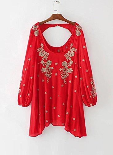 Azbro Mujer Vestido Mini Bordados Florales Recorte en Espalda Rojo