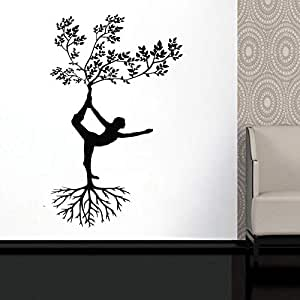 Silhouette Yoga Tree Pose Girl Woman Exercise Meditation Decal Abstract Wall Decal Woman Wall Art Design Vinyl Sticker 42x67cm: Amazon.es: Hogar