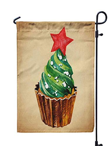Shorping Season Garden Flag, 12x18Inch for Holiday and Seasonal Double-Sided Printing Yards Flags Christmas Cupcake with Holly Berry Vector Illustration Watercolor illust]()