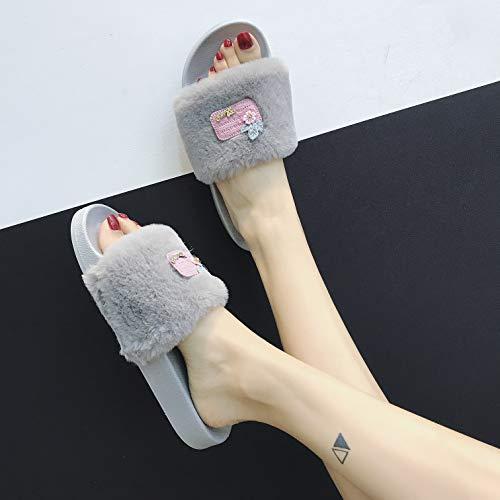 Ouvert Plate Tongs Femmes Mode en Claquettes Plage JITIAN Chaussure Fourrure Bout Gris Été Sandales Mules OE7qq5w