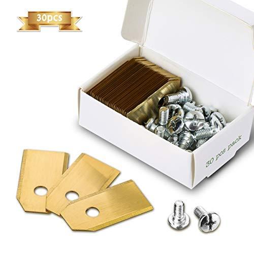 Hoja de cortadora de césped Titan Nasum hoja de repuesto 30 pcs (3G – 35 x 18 x 0,75 mm) acero inoxidable titanio con 30 tornillos, para Husqvarna ...
