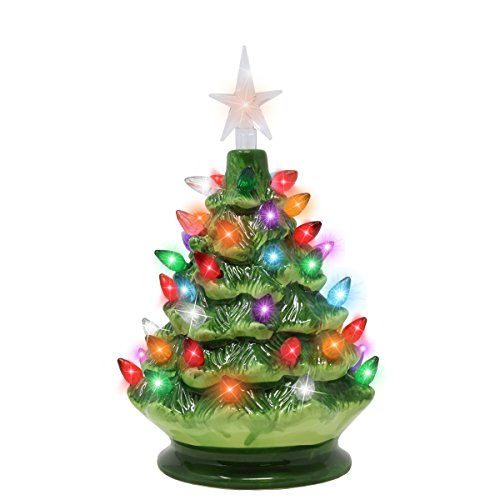 "Small Battery Operated Christmas Tree: 9"" Trees Tabletop Prelit Ceramic Christmas With LED Lights"