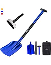 """Overmont Snow Shovel Aluminum 3 Piece 26"""" -32"""" Sport Utility Shovel Lightweight Portable Collapsible Mud for Car, Camping, Garden with ice Scraper"""