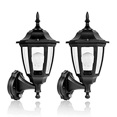 SPECILITE 2700K LED Sensor, Dusk to Dawn Automatic On/Off Exterior Lantern, Smart Lighting Outdoor Wall Mount Lamp for Garden, Patio, Porch(800LM?Plastic, Bulb Included