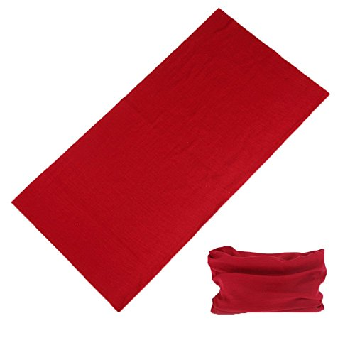 Multifunctional 16-in-1 Yoga Sports Fashion Travel Colors Headband Seamless Neck Uv Buff Solid Moisture Wicking Bandana Turban Scarf (3red)