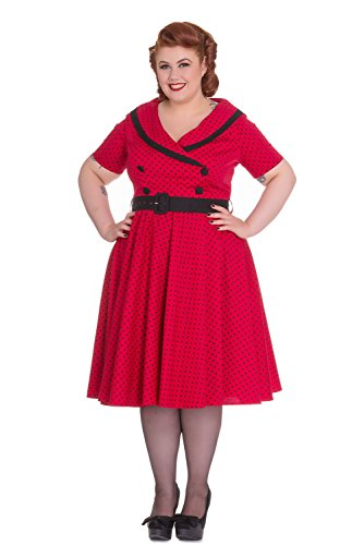 Hell-Bunny-Plus-60s-Vintage-Style-Polka-Dot-Starlet-Wide-V-neck-Collar-Party-Dress