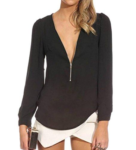 SOTW Womens Long Sleeve V Neck Zipper Sexy Chiffon Pullover T-shirt Blouse, Black, M