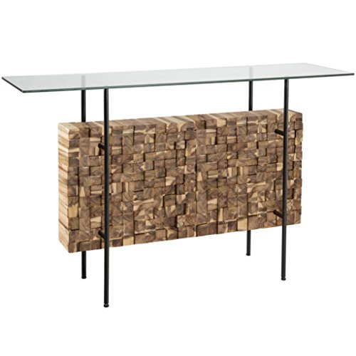 Pottery Barn Console (Rustic Acacia Wood Block Tempered Glass Top Bundle Accent Console Sofa Table - Includes Modhaus Living Pen)