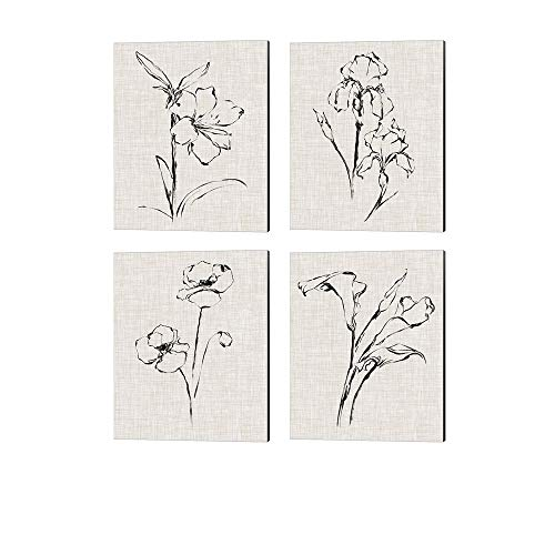Floral Ink Study by Ethan Harper, 4 Piece Canvas Art Set, 12 X 15 Inches Each, Floral Art