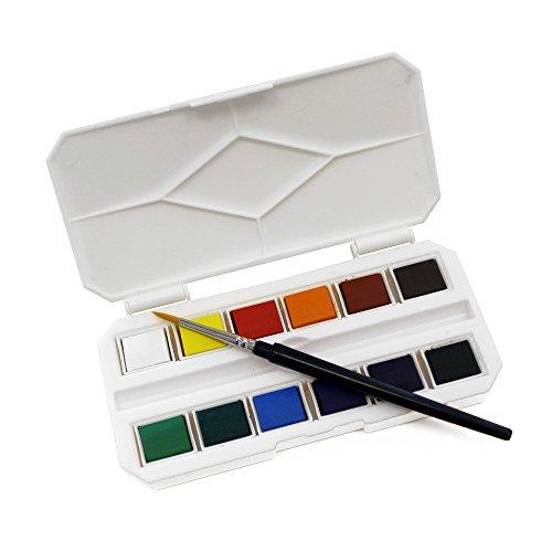 Mini Pocket Watercolour Paint Half Pan Box Set with Travel Brush (Best Watercolour Paints Uk)