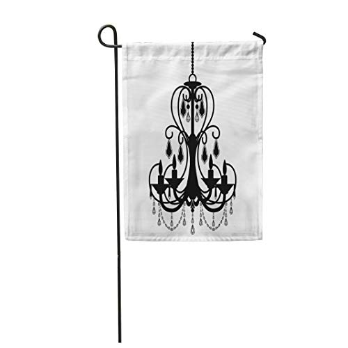 Semtomn Garden Flag 28x40 Inches Print On Two Side Polyester Ancient Chandelier Silhouette White Antique Baroque Black Candelabra Candle Home Yard Farm Fade Resistant Outdoor House Decor Flag