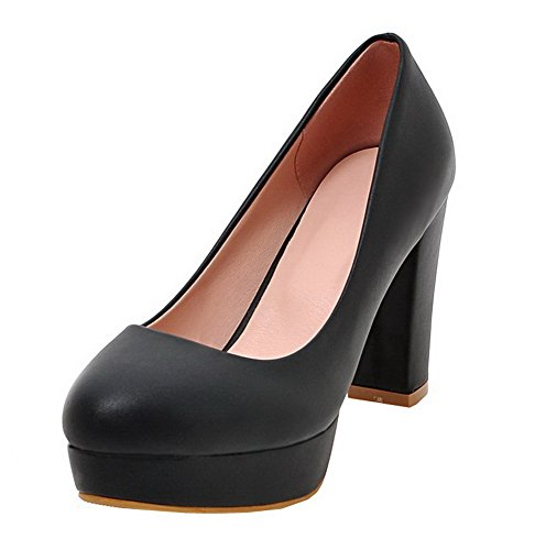 VogueZone009 Women's Round Closed Toe Pull-On PU Solid High-Heels Pumps-Shoes Black AgMjc