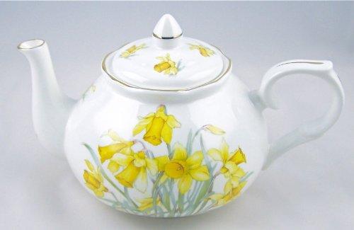 Fine English Bone China Teapot - Adderley Fine China, Staffordshire, England - Daffodil Chintz