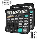 Basic Calculator,BESTWYA 12-Digit Dual Power Handheld Desktop Calculator with Large LCD Display Big Sensitive Button (Black,Pack of 2)