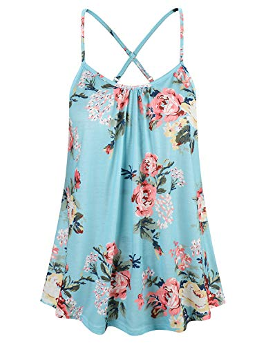 Cyanstyle Floral Sleeveless Tank Casual Stretchy Pattern Summer Camis Light Blue S ()