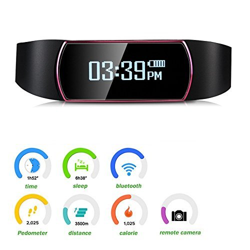 SinoPro Bluetooth Fitness Tracker Smart Bracelet Wristband with Touch Screen Sleep Monitor Pedometer Activity Tracker Call Reminder Remote Capture Functions for iPhone and Android Smartphones