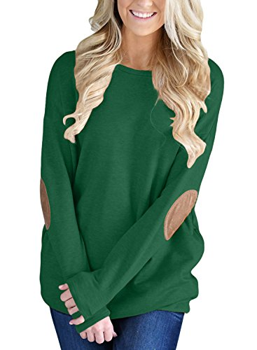 Green Tunic Sweater (FARYSAYS Women's Casual Loose Long Sleeve Crewneck Elbow Patch Sweatshirt Tunic Tops)