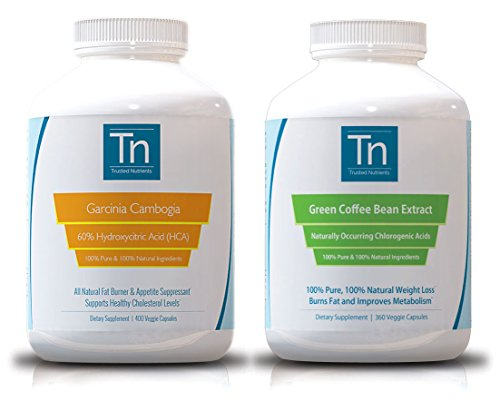 UPC 700697989892, 100% Pure Garcinia Cambogia Extract 60% HCA, 400 Veggie Caps & Pure Green Coffee Bean Extract 360 Veggie Caps Bundle. Double Dose of Weight Loss