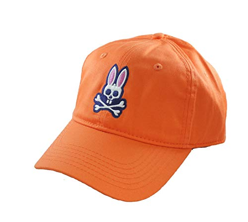 (Psycho Bunny Curved Cotton Twill Visor Hat Orange )