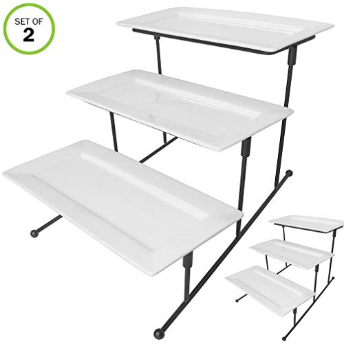 Rectangular Baking Platter - Evelots 3 Tier Rectangular Serving Platter, Cake Tray & Display Plate Rack Set/2