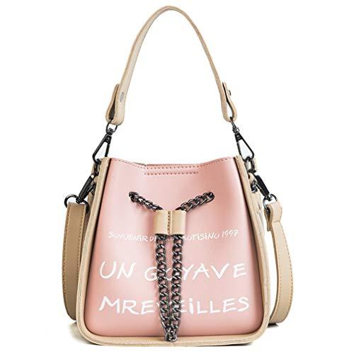 ANANXILA Women Bucket Chains String Shoulder Bags Messenger Letter Print Handbags Pink L18cmW9cmH17cm