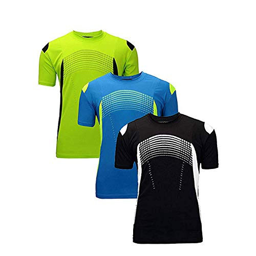 ZITY Moisture Wicking 3 Pack Shirts/Sport Training Tee Shirts Green Blue Black S (T-shirts Dry S/s)