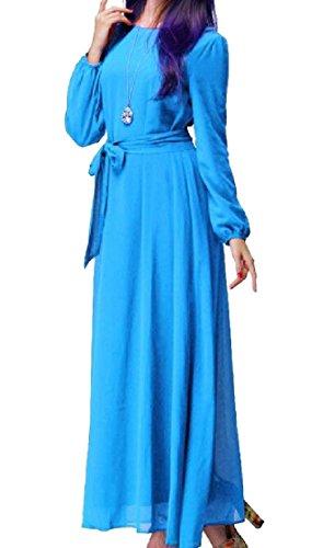 Coolred-femmes Musulmanes Abaya Ras Du Cou Solide De Couleur Bleu Clair Robe À Manches Longues