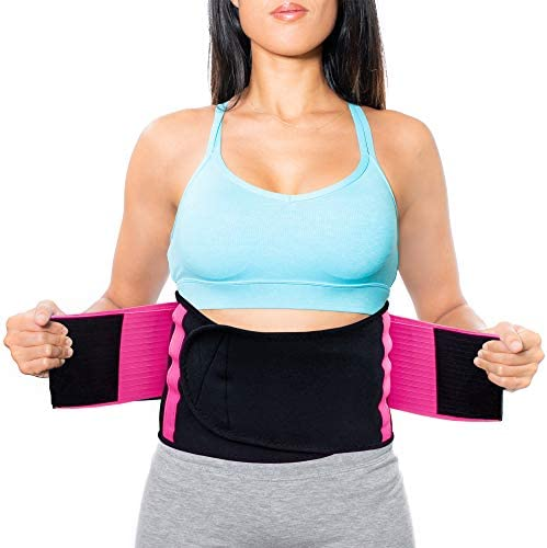 NeoHealth Lower Back Brace   Lumbar Support   Wrap for Recovery, Workout, Herniated Disc Pain Relief   Waist Trimmer Weight Loss Ab Belt   Exercise Adjustable   Breathable   Women & Men   Pink S 2