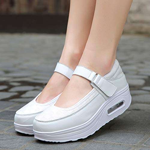 EU Loop Qiusa de Hook Zapatos con Sole Color Mujer tamaño Rocker 40 Blanco Shake Comfort Cordones Gris fq6FTq