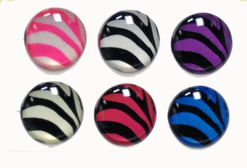 - 3D Semi-circular Black White Blue Purple Pink Zebra Stripes Design Style Home Button Stickers for iPhone 5 4/4s 3GS 3G, iPad 2, iPad Mini, iTouch 6 pieces **Colors May Vary**