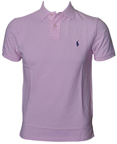 (Polo Ralph Lauren Men Custom Fit Mesh Pony Logo Shirt (XL, BathPink) )