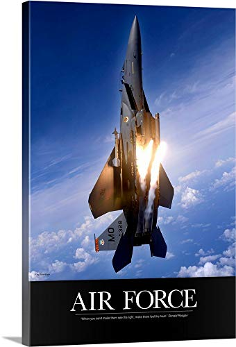 - Kate Lillyson Premium Thick-Wrap Canvas Wall Art Print entitled Military Poster: An F-15E Strike Eagle pops flares 32