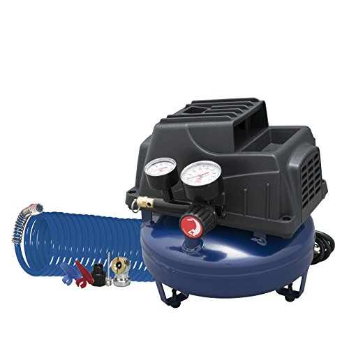 Air Compressor, 1 Gallon, Pancake, Oilless Pump, 110 PSI w/Recoil Air Hose & Inflation Kit (Campbell Hausfeld FP2028)