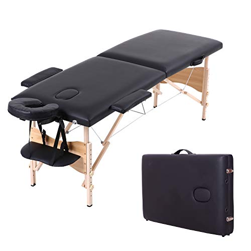 Soges Massage Table 73 inches Massage Bed Portable Spa Bed Folding Facial Bed Adjustable Lash Bed Tattoo Table with Headrest Armrest, Black, KH2104S-BK