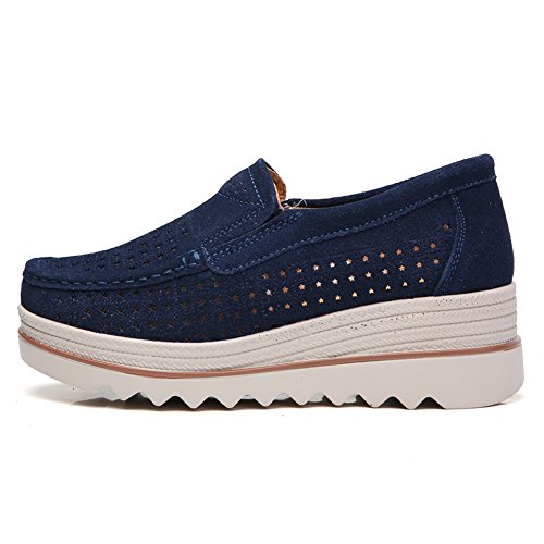 HKR Women Platform Loafers Comfort Ladies Moccasins Wedges Slip On Suede Wide Work Shoes Dark Blue Hollow gIrCA9pDCc
