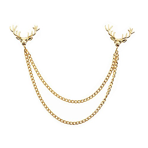 MGStyle Boutonniere Lapel Pin Chain Brooch For Men - Christmas Santa Deer Stag - Gold Tone - Alloy