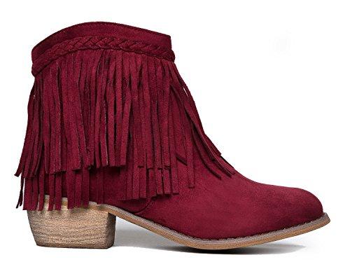 Soda Fringe Ankle Boot - Western Cowgirl geschlossene Toe Bootie - niedrige Ferse beiläufige bequeme Cowboy-gehende Stiefel Wein Wildleder