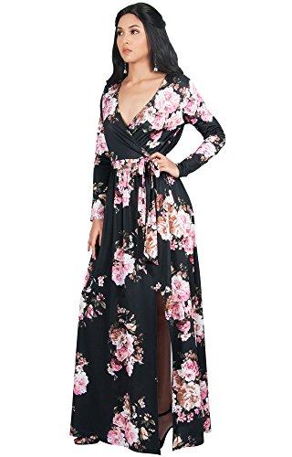V Slit Sleeve Womens Over KOH KOH Floral Maxi Cross Gown Neck Cocktail Evening High Print Dress Black Long PH1nYnxWq