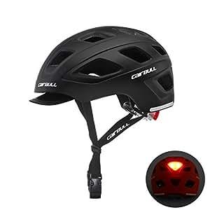 Cairbull Hombres/Mujeres Nuevo Ciclismo Casco con Visera L(56-61cm) Mountain Road Bike Safety Riding Helmet con luz led M(54-58)