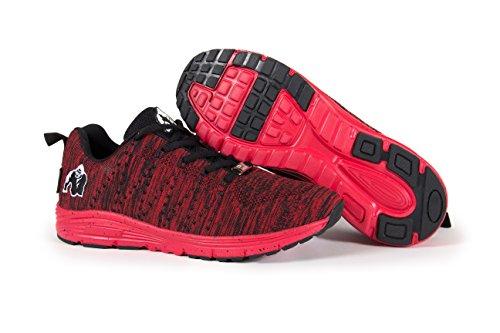 GORILLA WEAR Mens Booklyn Knitted Sneakers Black/Red a3HUebt