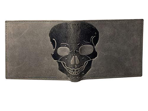 Distressed Leather Bi Fold (Unique RFID Blocking Skull Embossed Distressed Leather Bifold Gothic Slim Wallet In GIFT BOX by Corder London (Grey))