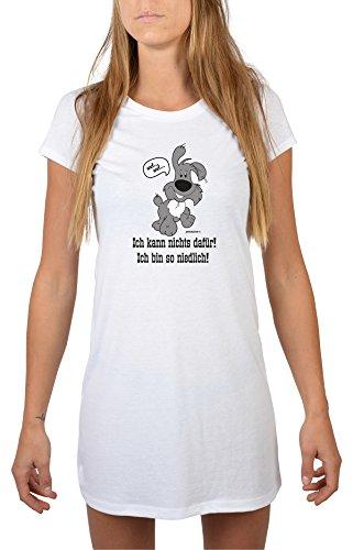 Lustiges Hunde Nachthemd tierische Sprüche : Ich kann nichts dafür! Ich bin so niedlich! (Hund) -- Longshirt Damen Hund Farbe: weiss Weiß